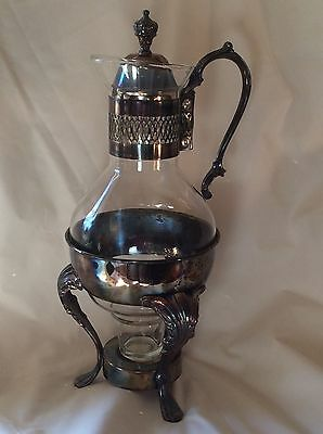 Vintage Coffee Pot Carafe Warmer Blown Glass & Silverplate