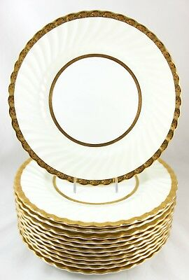 Set 8 Dinner Plates Vintage Minton Bone China Embassy Cream H4987 Gold Encrusted