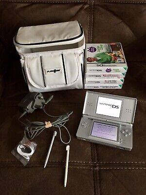 Bundle - NINTENDO DS LITE - Grey - With 4 Games, Charger, Protective Case 2 Pens