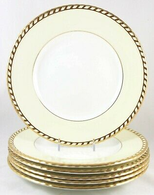 Set 4 Dinner Plates Vintage Minton China Commodore S112 Embossed Gold Rope Cream