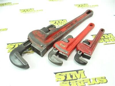 """3Pc Lot Of Heavy Duty Pipe Wrenches Proto & Ridgid 6"""" 8"""" 12"""""""