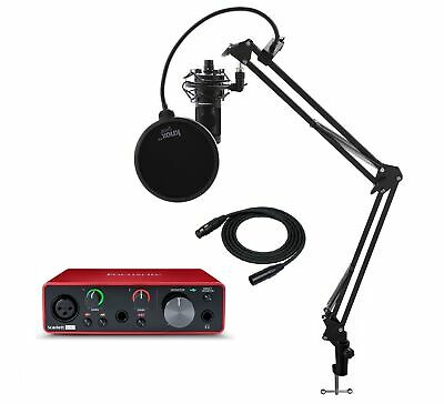 Focusrite Scarlett Solo 3rd Gen Interface with AT2020 Microphone Bundle