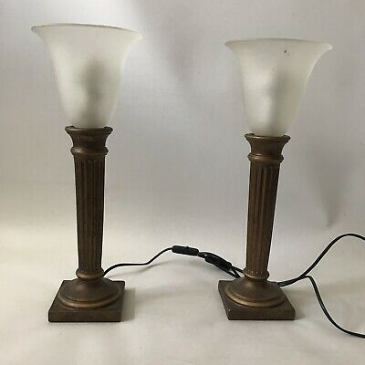 BHS Pair of Table Lamps Antique Style Bronze Rust Uplight Column Frosted Shade