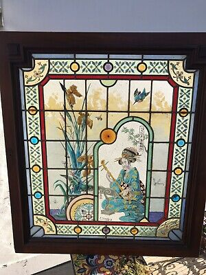 Oriental Enamel Stained Glass Window Panel Antique Period E Chauffrey Comission