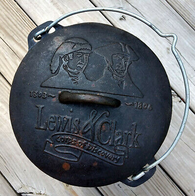 """Vintage 9"""" Cast Iron Covered Dutch Oven Lewis & Clark Corps of Discovery Footed"""