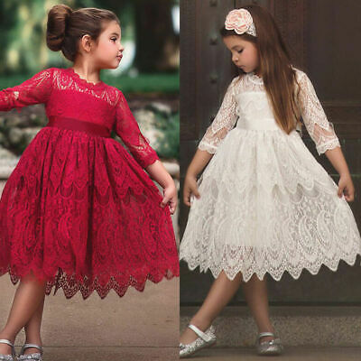 Girls Kids Princess Floral Lace Dress Wedding Party Bridesmaid Prom Gown Dresses