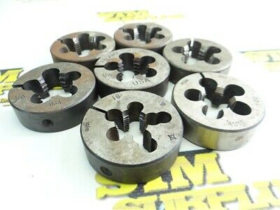 """Lot Of 7 2"""" Od Hss Round Dies 5/8""""-18Nf To 7/8""""-14Nf Cleveland Regal Ridgid"""