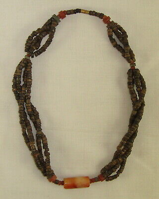 """Pre-Columbian Clay & Stone Beaded Necklace 16"""" Long"""