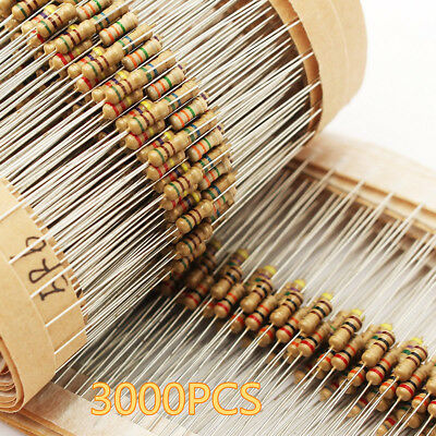 3000pcs 1 ohm~ 10M ohm 1/4W 75 Values Carbon Film Resistors Assorted kit 5%