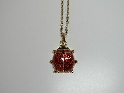 9 carat gold necklace, ladybird pendant with enamel detail,red,gold, chain