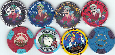 Eight Different $5 Casino Chips From California Card Room Casinos