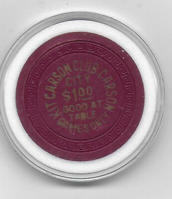 Obsolete $1 Casino Chip From KIT CARSON CLUB-Carson City, Nv.-(Table Games Only)