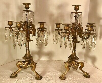Pair French Napoleon III Empire Gilt Candelabra with Cut Glass Prisms c1850-1870