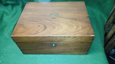 Vintage Wooden Lockable Writing Box Slope With Key