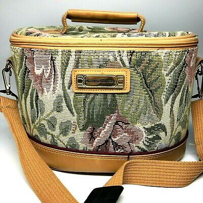 Vintage Train Case American Tourister Floral Tapestry Pink Green Tan Luggage