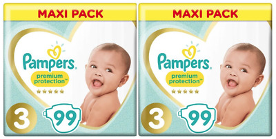 Lot 198 Couches PAMPERS Premium Protection Taille 3 de 6 à 10kg