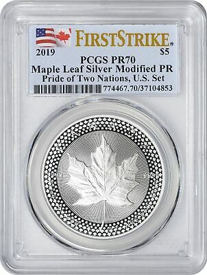 2019 Pride of Two Nations Silver Modified Maple Leaf PR70 PCGS First Strike U.S.