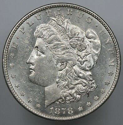 Brilliant Uncirculated 1878-S Morgan Silver Dollar Bu $1