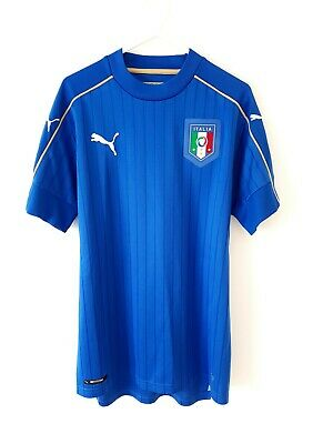 Italy Home Shirt 2016. Small Adults. Puma Blue Short Sleeves Football Top Only S