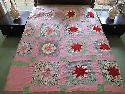 """Vintage Antique Feed Sack Hand Pieced MORNING STAR Quilt TOP; 71"""" x 68"""""""