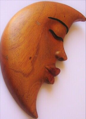 Wood Carved Moon Face Crescent Plaque By Hand Original Native Art Cancer Vintage
