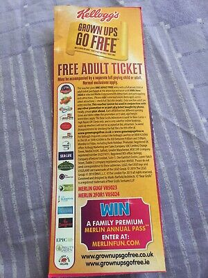 1 x BOGOF Ticket Voucher Coupon Merlin Alton Towers Thorpe Park Legoland 2 for 1