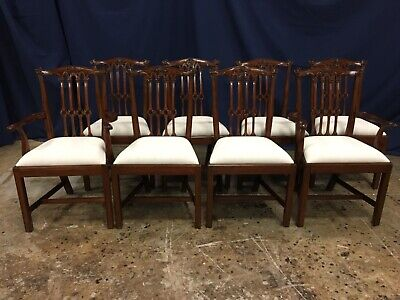 Leighton Hall Traditional Straight Leg Gothic Chippendale 8 Dining Chairs