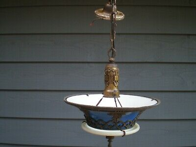 Antique Brass Bronze Ceiling Hanging Lamp Chandelier Blue