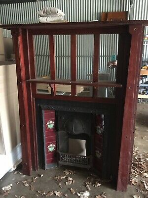 Original Victorian Cast Iron Fireplace Mantle And Surround