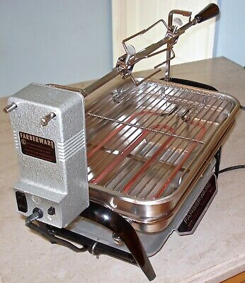 Vintage Farberware Open Hearth Indoor Electric Rotisserie Grill 450 Tested USA