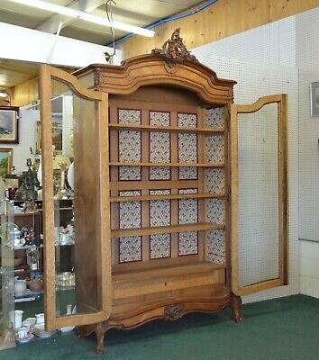 19th C Antique FRENCH Louis XV DIsplay CABINET Bookcase Armoire CARVED WALNUT