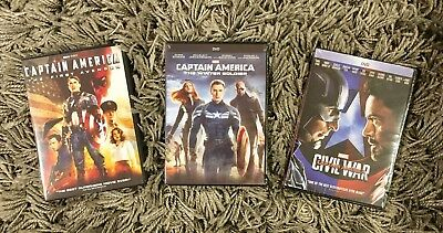 Captain America Trilogy (First Avenger, Winter Soldier, Civil War) Free Shipping
