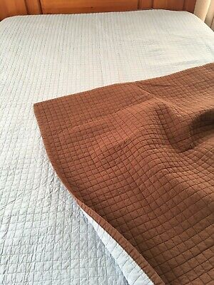 "Clean Modern Design Vintage Robins Egg Blue And Brown Reversible Quilt 98"" X 87"
