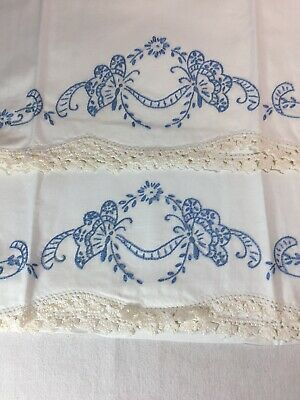 Pair Vintage Cotton Pillowcases  Embroidered BLUE BUTTERFLIES Crocheted Trim