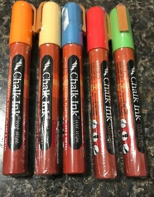 Lot Of 5 Chalk Ink Colored Markers 6mm Mixed Colors