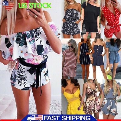 Womens Holiday Playsuit Romper Ladies Jumpsuit Summer Party Beach Casual Shorts