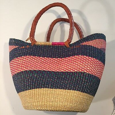INSIDE AFRICA - Solid Woven Long handled U Shopper - BRAND NEW - Shopping Bag