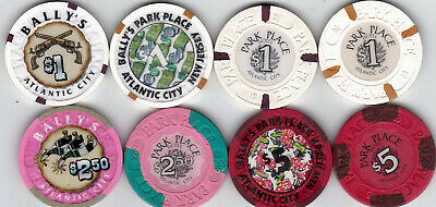 Four $1, Two $2.50, & Two $5 Bally's-Park Place Atlantic City, Nj Casino Chips