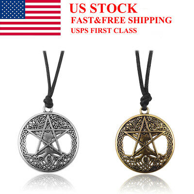 Men Women Large Celtic Knot Tree Of Life Star Pendant Rope Necklace Adjustable