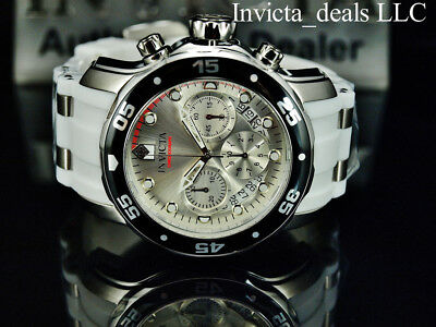 Invicta Men's 48mm SCUBA Pro Diver Chronograph Silver Dial White Strap SS Watch