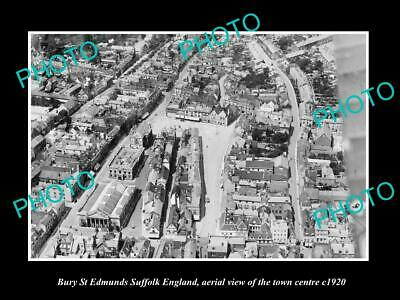 OLD LARGE HISTORIC PHOTO OF BURY ST EDMUNDS ENGLAND, AERIAL VIEW OF TOWN c1920
