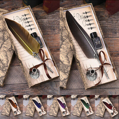 Hot with Gift Box Quill Dip Pen Vintage Feather Pen + Ink  & 5 Nibs Multi Color
