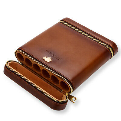 COHIBA Brown Leather Spanish Cedar Lined 6 Tube Cigar Case Humidor