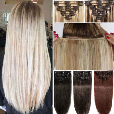 AAA+ CLEARANCE Clip in Human Hair Extensions Full Head 100% Real Remy Hair UK HA