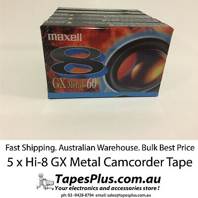 5 x Maxell Hi8 8mm Metal GX Camcorder VIDEO Camera Metal Particle Tape. Japan
