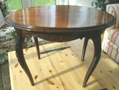 Antique Mahogany Wooden Side Occasional Tea Coffee Table Tapered Bowed Legs