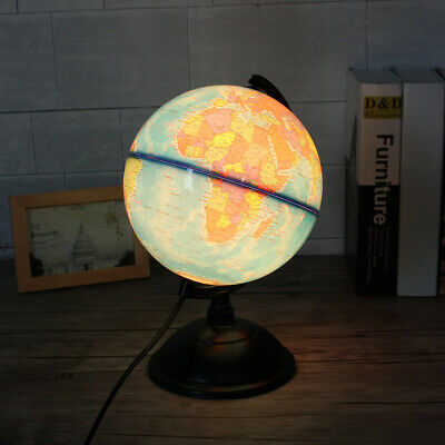"12"" Illuminated World Globe Earth Rotating With Night Light Desk Map"