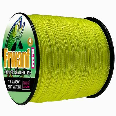 Japanese Super Strong PE Braided Fishing Line 500M Multifilament Yellow 6-100LBS