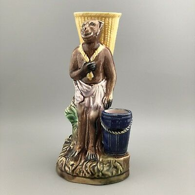 Antique 19th Century Pottery Majolica Monkey Spill Vase - Quirky - Victorian