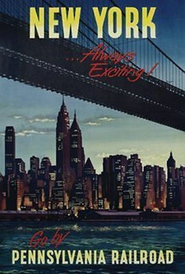 NEW YORK CITY - ALWAYS EXCITING - VINTAGE TRAVEL POSTER 24x36 - NYC 36143
